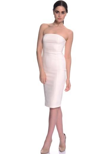 House Of Camellia Straplez Abiye Elbise Beyaz